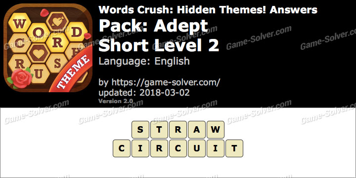 Words Crush Adept-Short Level 2 Answers