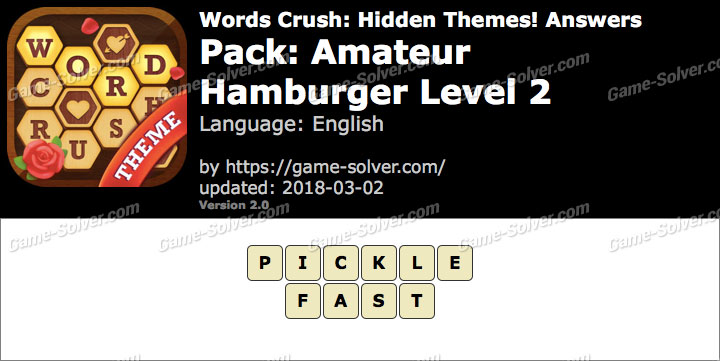 Words Crush Amateur-Hamburger Level 2 Answers