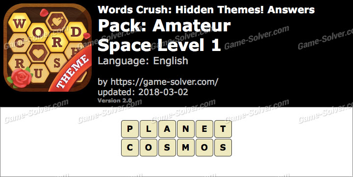 Words Crush Amateur-Space Level 1 Answers