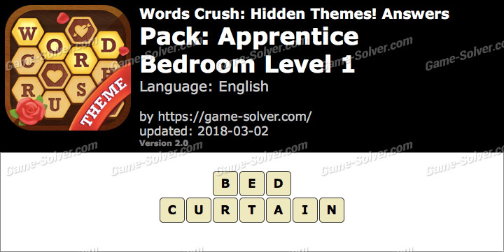 Words Crush Apprentice-Bedroom Level 1 Answers
