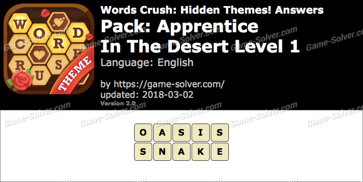 Words Crush Apprentice-In The Desert Level 1 Answers