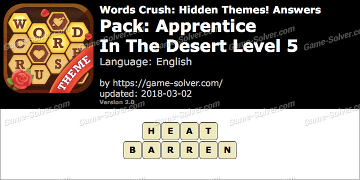 Words Crush Apprentice-In The Desert Level 5 Answers