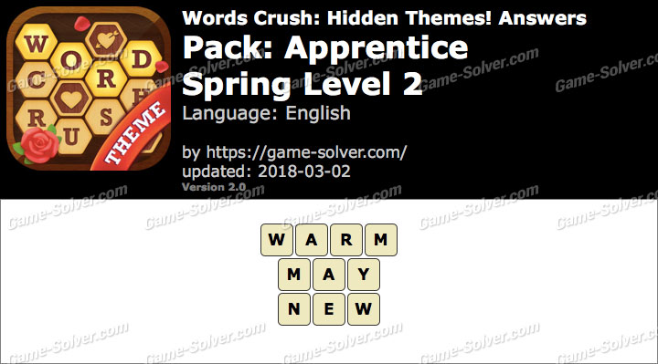 Words Crush Apprentice-Spring Level 2 Answers
