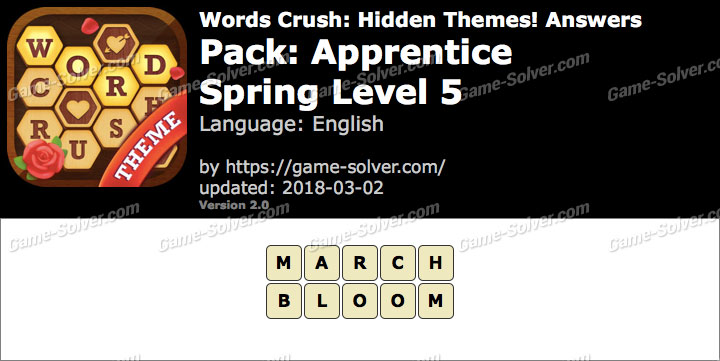 Words Crush Apprentice-Spring Level 5 Answers