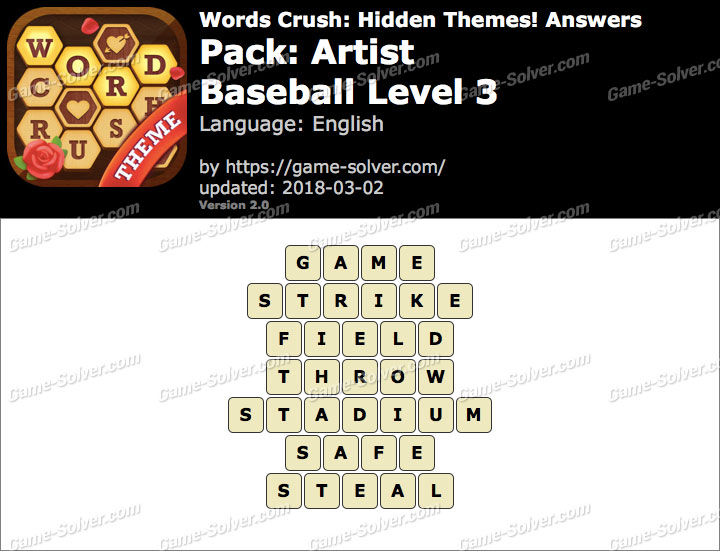 Words Crush Artist-Baseball Level 3 Answers