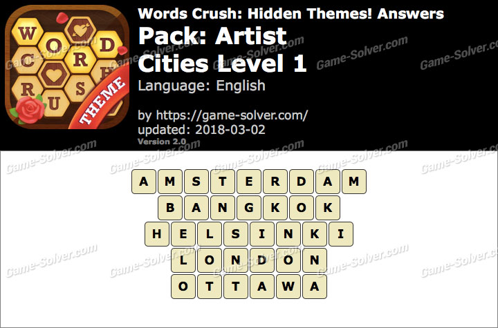 Words Crush Artist-Cities Level 1 Answers