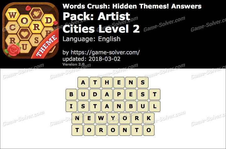 Words Crush Artist-Cities Level 2 Answers