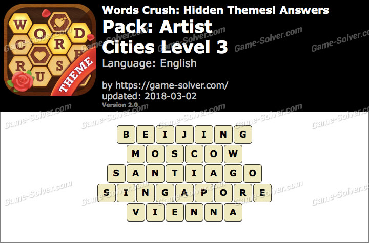 Words Crush Artist-Cities Level 3 Answers