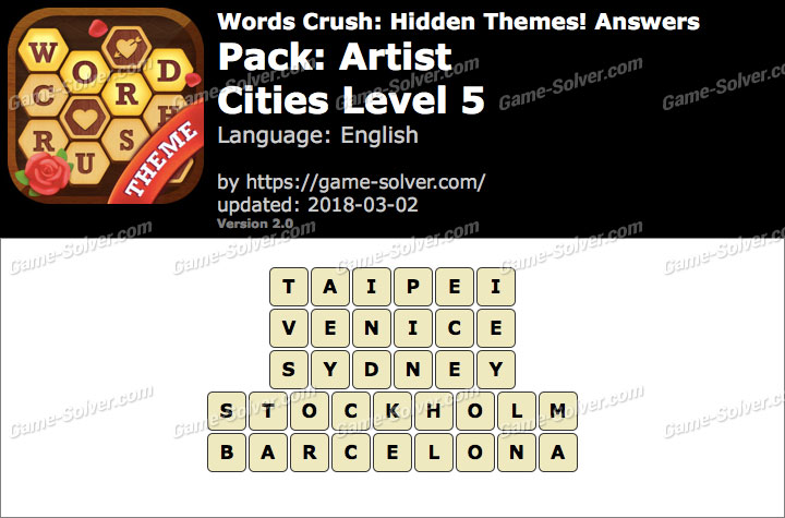Words Crush Artist-Cities Level 5 Answers