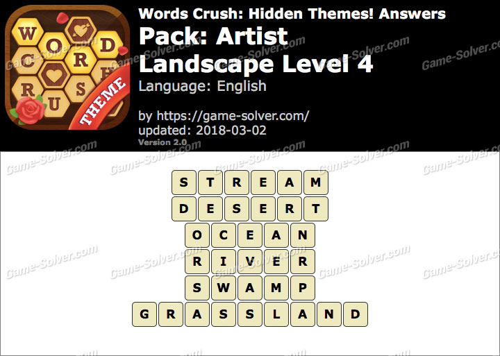 Words Crush Artist-Landscape Level 4 Answers