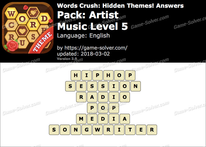 Words Crush Artist-Music Level 5 Answers