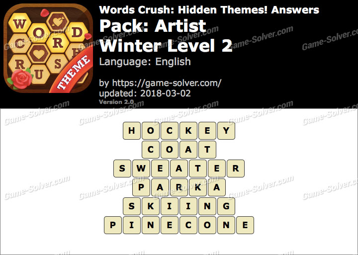 Words Crush Artist-Winter Level 2 Answers