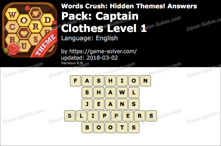 Words Crush Captain-Clothes Level 1 Answers