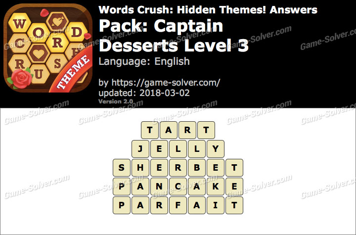 Words Crush Captain-Desserts Level 3 Answers