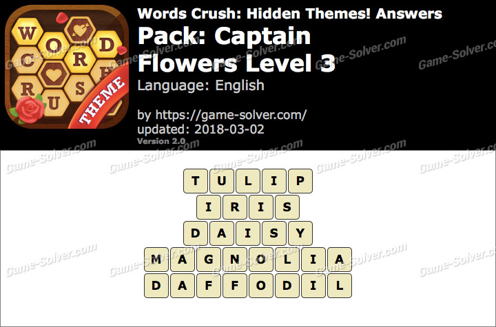 Words Crush Captain-Flowers Level 3 Answers