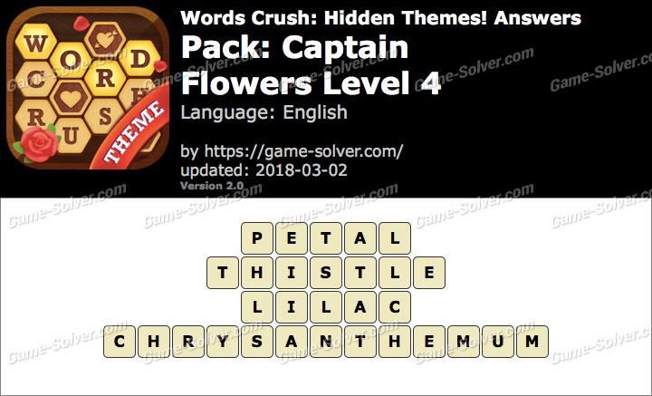 Words Crush Captain-Flowers Level 4 Answers