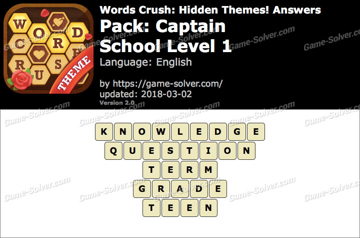 Words Crush Captain-School Level 1 Answers