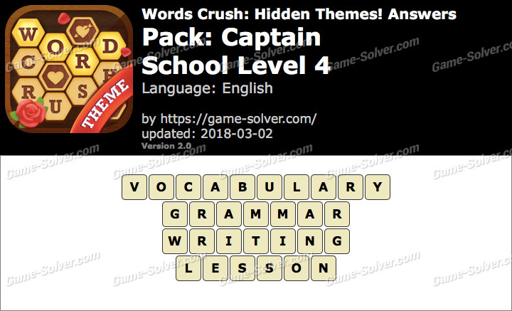 Words Crush Captain-School Level 4 Answers