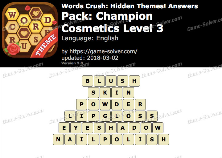 Words Crush Champion-Cosmetics Level 3 Answers