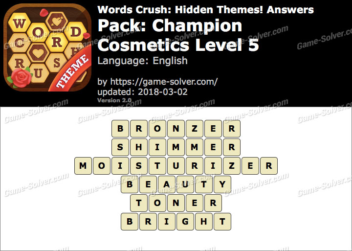 Words Crush Champion-Cosmetics Level 5 Answers