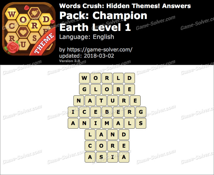 Words Crush Champion-Earth Level 1 Answers