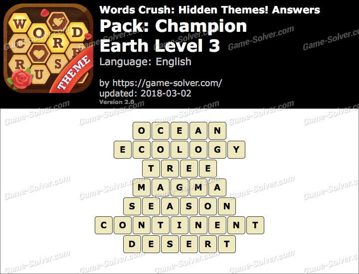 Words Crush Champion-Earth Level 3 Answers