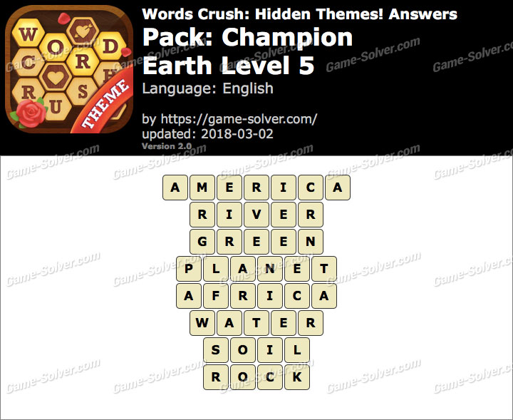 Words Crush Champion-Earth Level 5 Answers