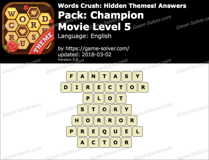 Words Crush Champion-Movie Level 5 Answers