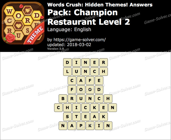 Words Crush Champion-Restaurant Level 2 Answers