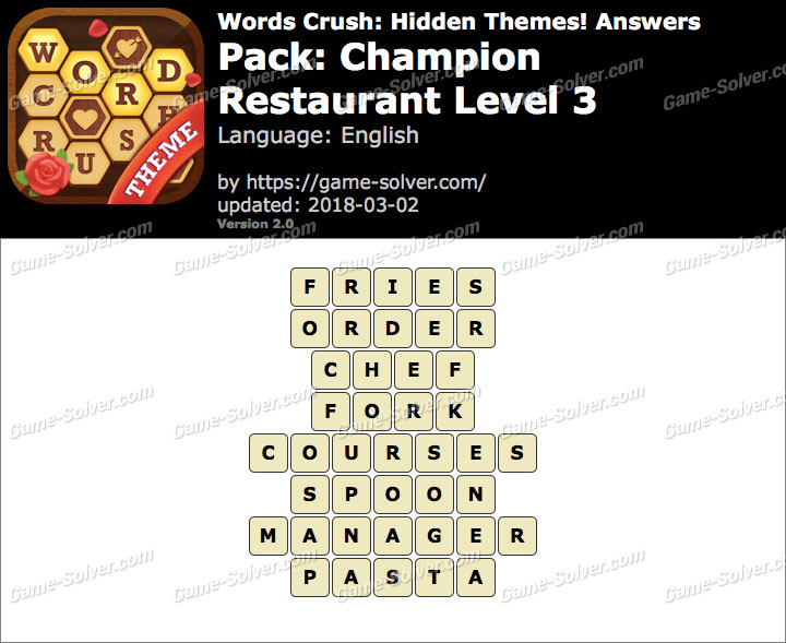 Words Crush Champion-Restaurant Level 3 Answers