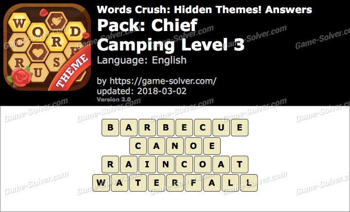 Words Crush Chief-Camping Level 3 Answers
