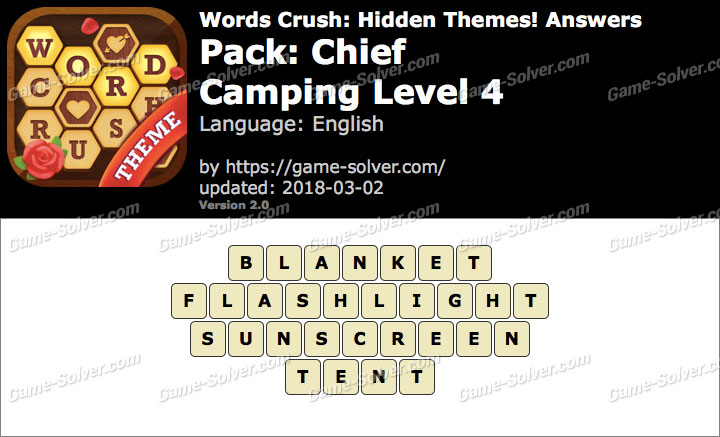 Words Crush Chief-Camping Level 4 Answers