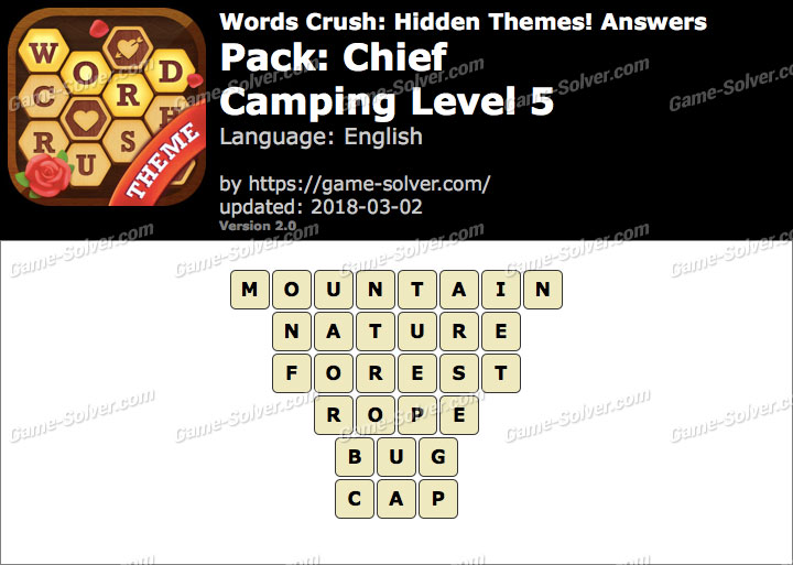 Words Crush Chief-Camping Level 5 Answers