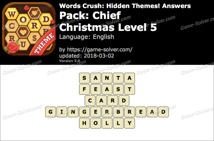 Words Crush Chief-Christmas Level 5 Answers