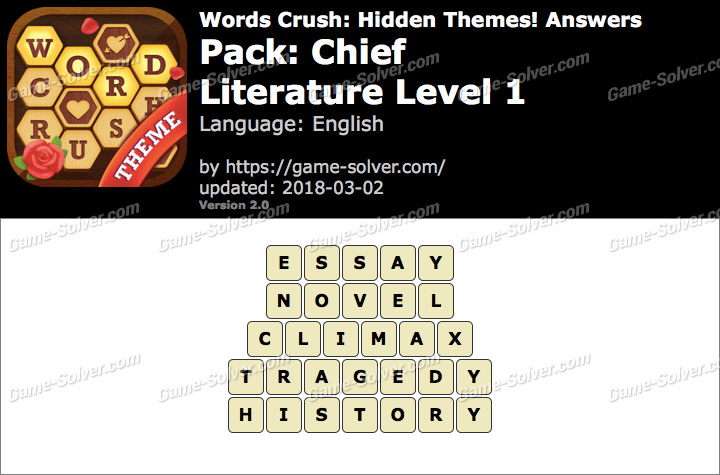 Words Crush Chief-Literature Level 1 Answers