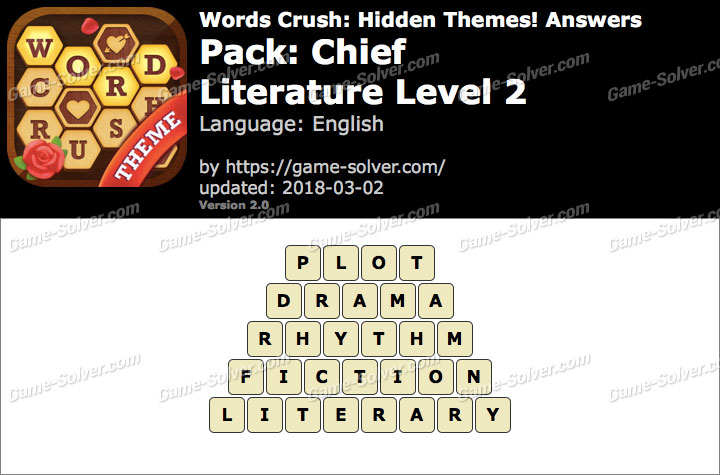 Words Crush Chief-Literature Level 2 Answers