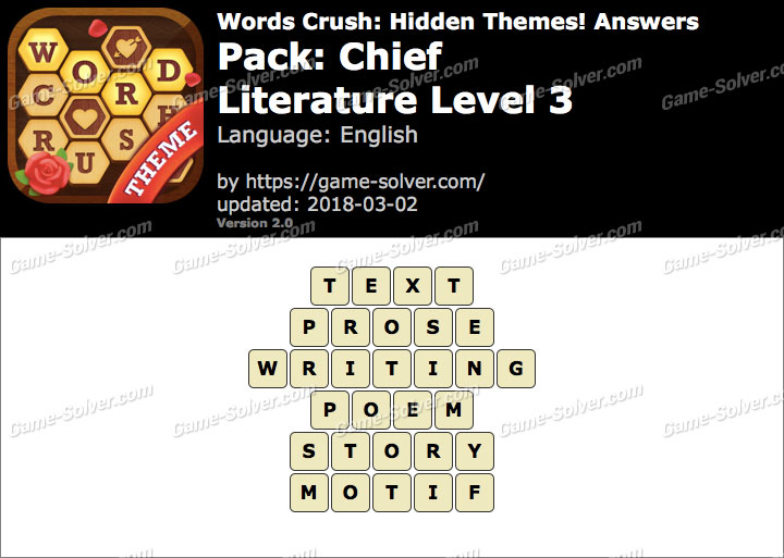 Words Crush Chief-Literature Level 3 Answers