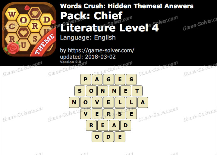 Words Crush Chief-Literature Level 4 Answers