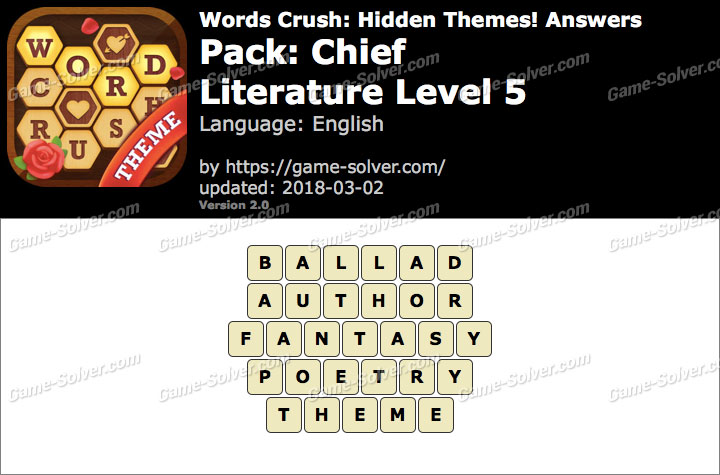 Words Crush Chief-Literature Level 5 Answers