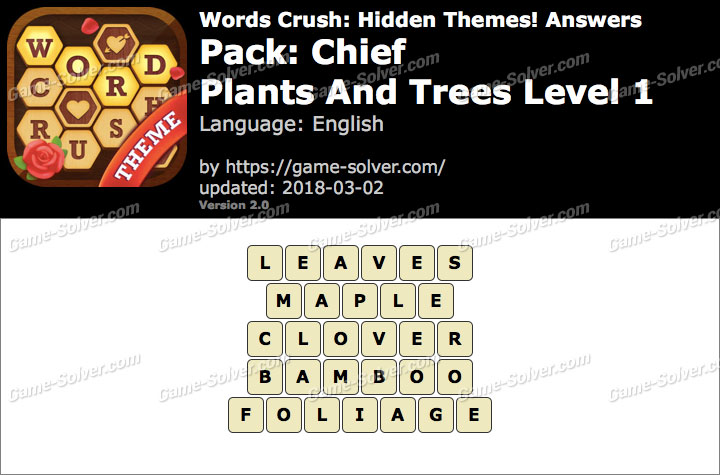 Words Crush Chief-Plants And Trees Level 1 Answers