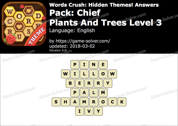 Words Crush Chief-Plants And Trees Level 3 Answers