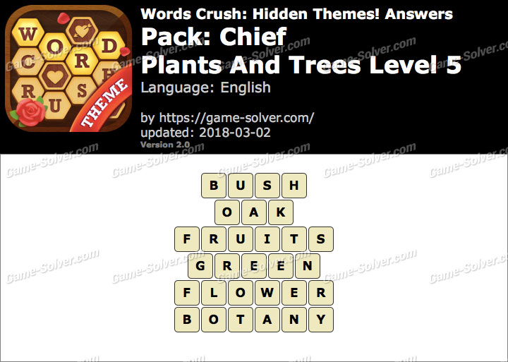 Words Crush Chief-Plants And Trees Level 5 Answers