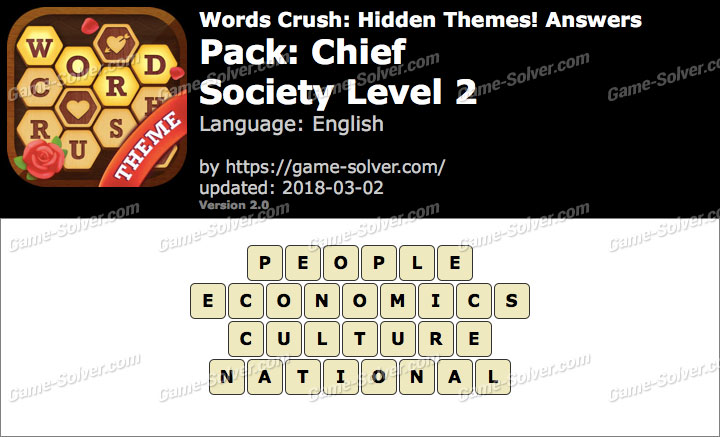 Words Crush Chief-Society Level 2 Answers
