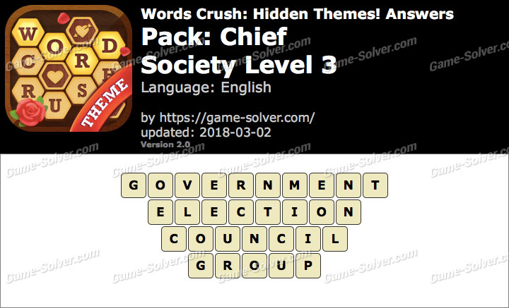 Words Crush Chief-Society Level 3 Answers