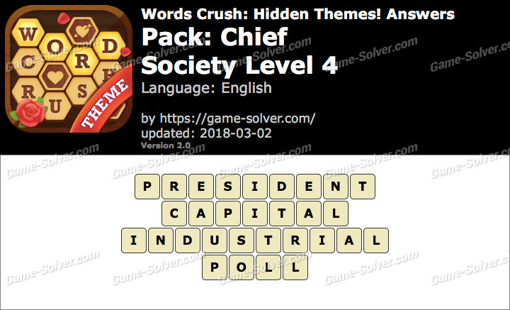 Words Crush Chief-Society Level 4 Answers