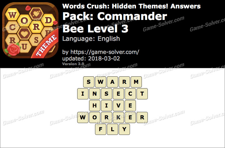 Words Crush Commander-Bee Level 3 Answers