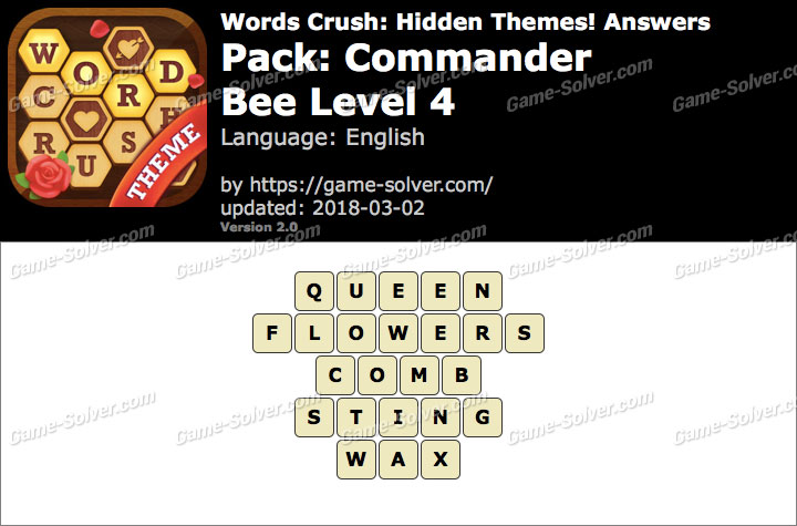 Words Crush Commander-Bee Level 4 Answers