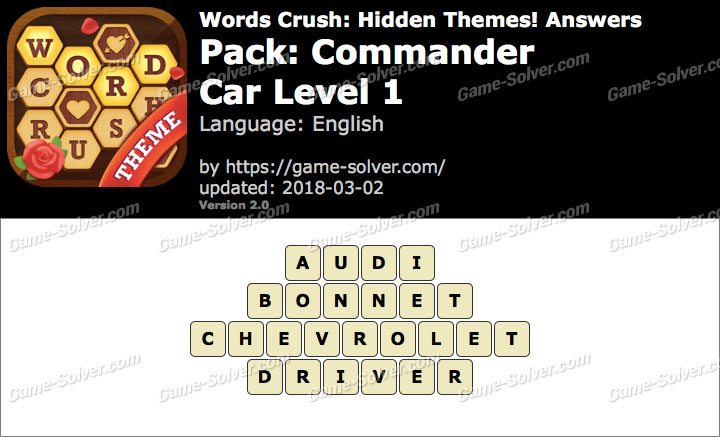 Words Crush Commander-Car Level 1 Answers