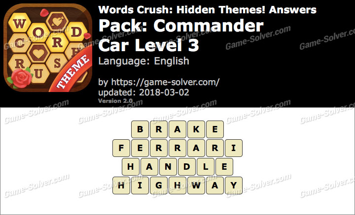 Words Crush Commander-Car Level 3 Answers
