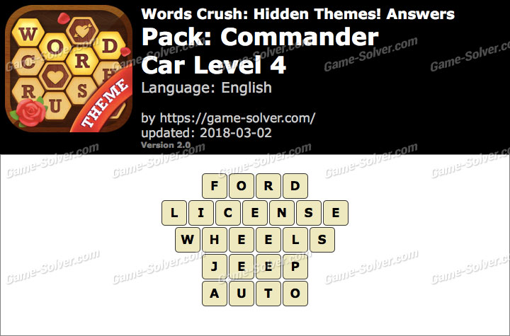 Words Crush Commander-Car Level 4 Answers